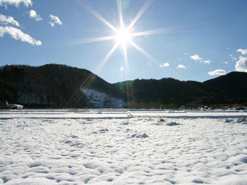 雪と太陽素材